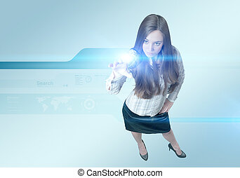 Pretty young lady using hightech - outstanding business...