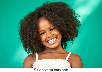 Pretty Young Latina Girl Cute Black Female Child Smiling -...