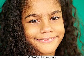 Pretty Young Latina Girl Cute Hispanic Female Child Smiling