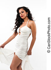 Latina - Pretty young Latina in a long white gown
