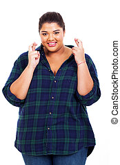 pretty young overweight woman wishing good luck - pretty...
