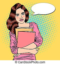 Pretty Young Pop Art Student Girl Holding Books. Vector illustration