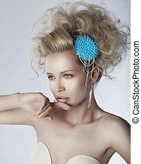Pretty young sexy female blonde closeup portrait