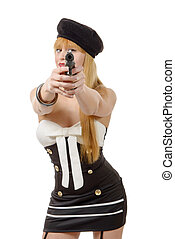 pretty young sexy woman with gun on white background