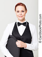 pretty young waitress with empty tray on white