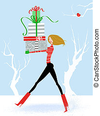Pretty Young Woman Carrying Christmas Presents in the Snow