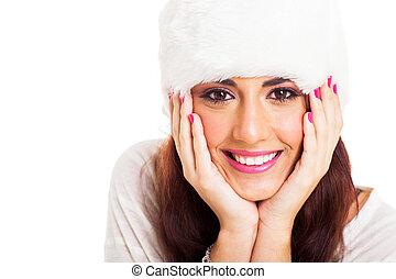 pretty young woman face closeup