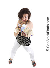 Pretty young woman hold the money