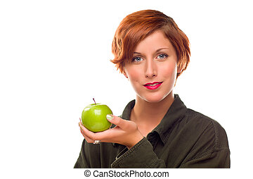 Pretty Young Woman Holding Green Apple
