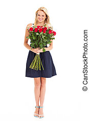 pretty young woman holding roses