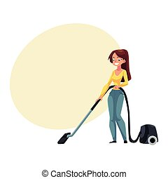 Pretty young woman, housewife cleaning house with vacuum cleaner