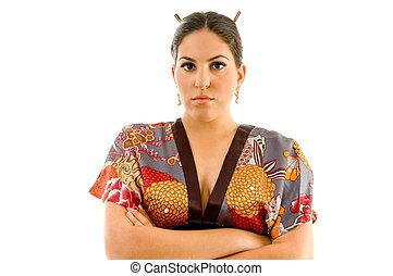pretty young woman in kimono