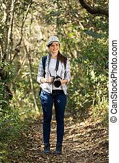 young woman mountain climbing - pretty young woman mountain...