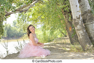 pretty young woman outdoor