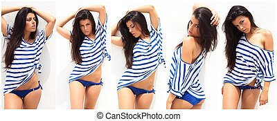 pretty young woman posing collection over white
