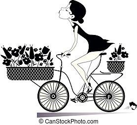 Pretty young woman rides a bike illustration