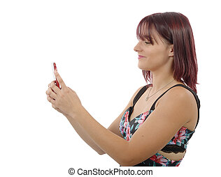 pretty young woman sending a text message - a pretty young...