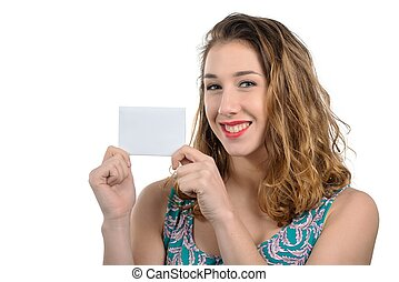 pretty young woman showing small empty card
