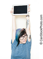 Pretty young woman smiling with tablet