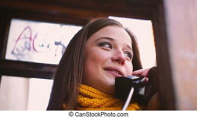 Pretty young woman talking