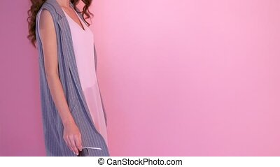Pretty Young Woman Wearing Dress in Different Movements.