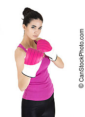 Pretty young woman with boxing gloves