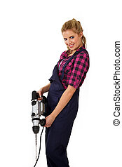 pretty young woman with drill