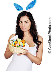 woman with easter bunny ears