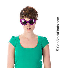 Pretty young woman with purple sunglasses