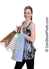 young woman with shopping