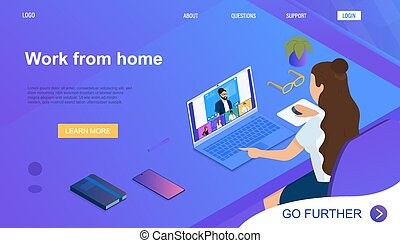 Pretty young woman working at home on laptop. Home Office Concept. Video conference with colleagues. The girl communicates with employees through a video application. 3d Isometric Vector