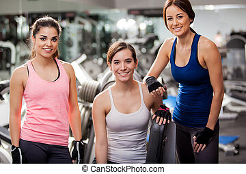 Pretty young women at the gym