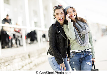 Pretty young women outdoor