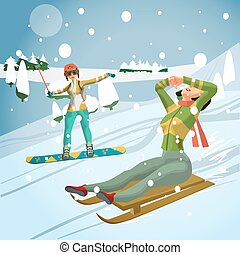 Pretty young women sledding and snowboarding from a hill in the forest on a cloudy day. Flat cartoon vector illustration