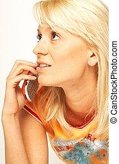 women talking cell phone