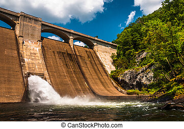 Prettyboy Dam, along the Gunpowder River in Baltimore County, Maryland.