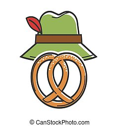 Pretzel and green hat isolated on white vector poster