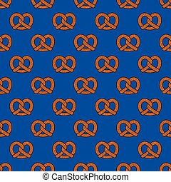Pretzel cookie baked snack doodle vector seamless pattern isolated wallpaper background blue