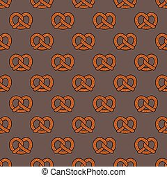 Pretzel cookie baked snack doodle vector seamless pattern isolated wallpaper background Brown
