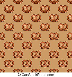 Pretzel cookie baked snack doodle vector seamless pattern isolated wallpaper background