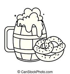 pretzel, fondo, silhouette, legno, tazza birra, bianco