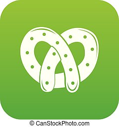 Pretzel icon green vector