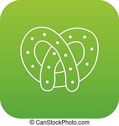 Pretzel icon green vector