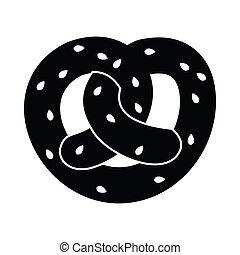 Pretzel icon, simple style