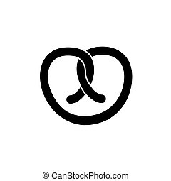 pretzel icon, vector illustration, black sign on isolated background