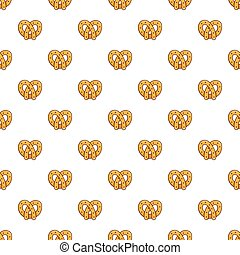 Pretzel pattern seamless repeat in cartoon style vector...
