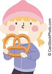 pretzel, pige, barnet, stor, illustration