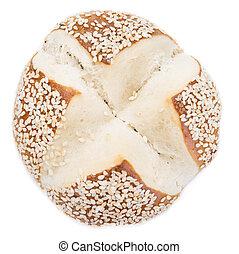 Pretzel Roll (with Sesame) over white