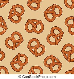Pretzel seamless pattern cookie baked snack doodle vector isolated wallpaper background Big size