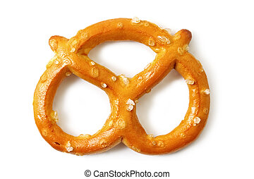 Pretzel - Single salted pretzel, casting shadow on white.